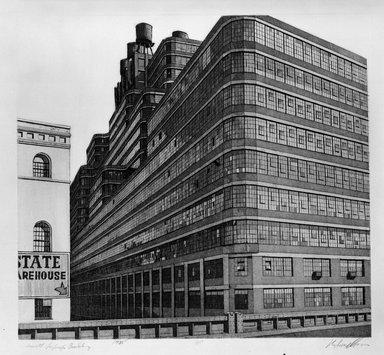 Richard Haas (American, born 1936). <em>Starret-Lehigh Building</em>, 1975. Etching, aquatint, Sheet: 18 3/16 x 19 13/16 in. (46.2 x 50.4 cm). Brooklyn Museum, Gift of Stephen and Nora Gano, 80.293.1. © artist or artist's estate (Photo: Brooklyn Museum, 80.293.1_bw.jpg)