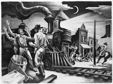 Thomas Hart Benton (American, 1889-1975). <em>Jesse James</em>, 1936. Lithograph  edition 100 Brooklyn Museum, Gift of Mr. and Mrs. Theodore Kamholtz, 80.295 (Photo: Brooklyn Museum, 80.295_bw.jpg)