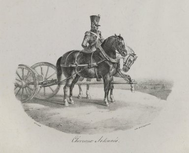 Théodore Géricault (French, 1791-1829). <em>Hevaux Des Ardennes</em>, 1822. Lithograph on wove paper, Image: 6 1/8 x 8 3/16 in. (15.5 x 20.8 cm). Brooklyn Museum, Designated Purchase Fund, 80.30.4 (Photo: Brooklyn Museum, 80.30.4_PS6.jpg)