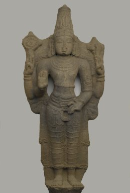 <em>Standing Vishnu</em>, 11th-12th century. Grey granite, 45 x 22 in. (114.3 x 55.9 cm). Brooklyn Museum, Gift of Alice Boney, 80.308. Creative Commons-BY (Photo: Brooklyn Museum, 80.308_PS2.jpg)
