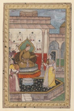 Indian. <em>Miniature Painting, Court Scene</em>, late 16th century. Opaque watercolor on paper, sheet: 6 3/4 x 4 3/8 in.  (17.1 x 11.1 cm). Brooklyn Museum, Gift of Steve M. Kossak, 80.309 (Photo: Brooklyn Museum, 80.309_IMLS_PS3.jpg)