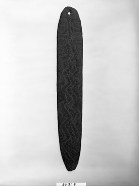 Aboriginal Australian. <em>Bullroarer</em>, late 19th-early 20th century. Wood, pigment, L: 16 5/8 in. (42.3 cm). Brooklyn Museum, Gift of Mrs. Donald M. Oenslager, 80.31.9. Creative Commons-BY (Photo: Brooklyn Museum, 80.31.9_bw.jpg)