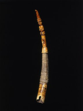Yombe. <em>Side-Blown Horn (Mpungi) or (Kithenda)</em>, 19th century. Ivory, fiber, cloth, 28 x 3 in. (diam.) (71.1 x 7.6 cm). Brooklyn Museum, Gift of The Roebling Society, 80.32. Creative Commons-BY (Photo: Brooklyn Museum, 80.32_SL1.jpg)