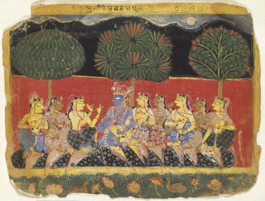 Indian. <em>Krishna and the Gopis, Leaf from a Bhagavata Purana Series</em>, ca. 1540. Opaque watercolor on paper, sheet: 6 7/8 x 9 1/8 in.  (17.5 x 23.2 cm). Brooklyn Museum, Gift of Mr. and Mrs. H. Peter Findlay, 80.41 (Photo: Brooklyn Museum, 80.41_SL1.jpg)