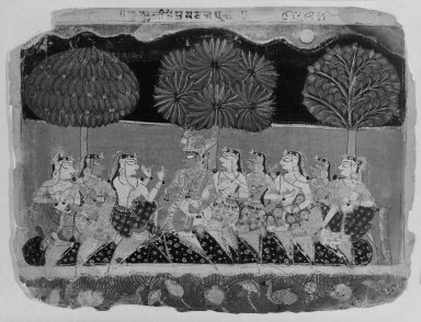 Indian. <em>Krishna and the Gopis, Leaf from a Bhagavata Purana Series</em>, ca. 1540. Opaque watercolor on paper, sheet: 6 7/8 x 9 1/8 in.  (17.5 x 23.2 cm). Brooklyn Museum, Gift of Mr. and Mrs. H. Peter Findlay, 80.41 (Photo: Brooklyn Museum, 80.41_bw.jpg)