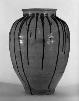 <em>Water Jar</em>, 19th-mid 19th century. Shigaraki ware, 20 1/2 x 15 1/2 in. (52.1 x 39.4 cm). Brooklyn Museum, Gift of Mr. and Mrs. Harry Kahn, 80.42.1. Creative Commons-BY (Photo: Brooklyn Museum, 80.42.1_bw.jpg)