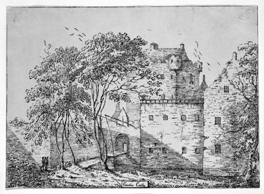 Lady Caroline Cawdor (British, died 1868). <em>Cawdor Castle</em>, 1802-1803. Pen lithograph on wove paper, 9 1/16 x 12 1/2 in. (23 x 31.8 cm). Brooklyn Museum, Designated Purchase Fund, 80.57.2 (Photo: Brooklyn Museum, 80.57.2_bw.jpg)