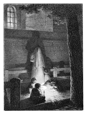 Jean Baptiste Isabey (French, 1767-1855). <em>Enfants Tenant Une Lumiere Dans Une Eglise</em>, 1818. Chalk lithograph on wove paper, 4 5/16 x 3 1/4 in. (11 x 8.2 cm). Brooklyn Museum, Designated Purchase Fund, 80.57.4 (Photo: Brooklyn Museum, 80.57.4_bw.jpg)