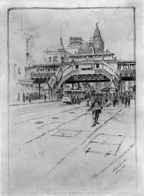 Charles F. W. Mielatz (American, born Germany 1864-1919). <em>Fourteenth Street Looking West</em>, 1900-1911. Graphite on paper, Sheet: 11 3/4 x 8 13/16 in. (29.8 x 22.4 cm). Brooklyn Museum, Designated Purchase Fund, 80.60.11 (Photo: Brooklyn Museum, 80.60.11_bw.jpg)