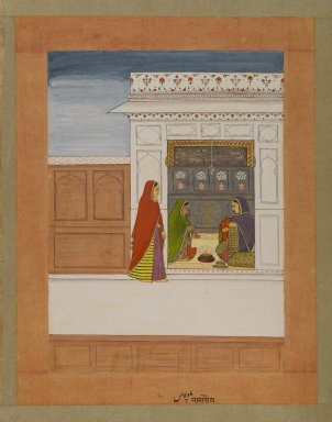 Indian. <em>Month of Pausha, Page from a Baramasa Series</em>, ca. 1750. Opaque watercolor and gold on paper, sheet: 13 3/4 x 10 5/8 in.  (34.9 x 27.0 cm). Brooklyn Museum, Gift of Mr. and Mrs. Peter Findlay, 80.71.1 (Photo: Brooklyn Museum, 80.71.1_IMLS_PS4.jpg)