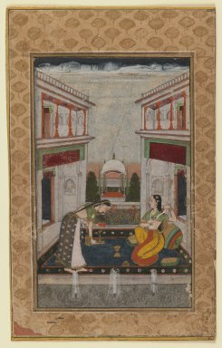 <em>Syam Kalyan Ragini</em>, ca. 1740-1750. Opaque watercolors on paper, Image: 5 1/2 x 3 3/8 in. (14 x 8.6 cm). Brooklyn Museum, Gift of Mr. and Mrs. Peter Findlay, 80.71.3 (Photo: Brooklyn Museum, 80.71.3_IMLS_PS3.jpg)
