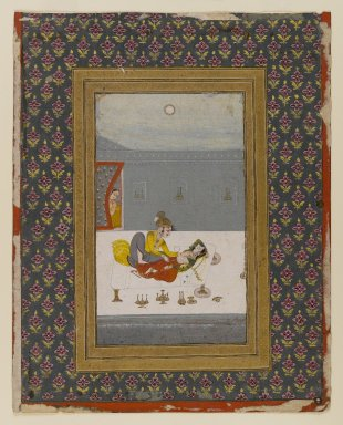 Indian. <em>Lovers on a Moonlit Night</em>, ca. 1775. Opaque watercolor, gold, and silver on paper, sheet: 13 3/8 x 10 11/16 in.  (34.0 x 27.1 cm). Brooklyn Museum, Gift of Mr. and Mrs. Peter Findlay, 80.71.4 (Photo: Brooklyn Museum, 80.71.4_IMLS_PS4.jpg)