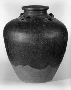 <em>Storage Jar</em>, 16th century. Sankampaeng black-glazed storage jar, 14 1/2 x 13 in. (36.8 x 33 cm). Brooklyn Museum, Gift of Mr. and Mrs. Stanley Herzman, 80.72.2. Creative Commons-BY (Photo: Brooklyn Museum, 80.72.2_bw.jpg)