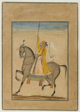 Kasam, Son of Muhammad. <em>Equestrian Portrait of Maharaja Sujan Singh of Bikaner</em>, ca. 1747. Opaque watercolor, silver, and gold on paper, sheet: 11 1/2 x 8 1/8 in.  (29.2 x 20.6 cm). Brooklyn Museum, Gift of Mr. and Mrs. Carl L. Selden, 80.75 (Photo: Brooklyn Museum, 80.75_IMLS_PS4.jpg)