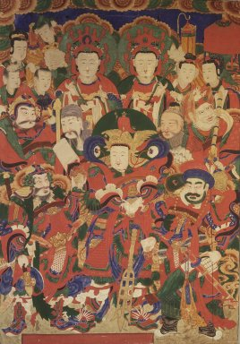 <em>The Five Guardian Generals (O Bang Jang Kun)</em>, 19th century. ink, color and gold leaf on silk, 57 11/16 x 40 3/16 in. (146.5 x 102 cm). Brooklyn Museum, Designated Purchase Fund, 80.76 (Photo: Brooklyn Museum, 80.76.jpg)
