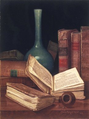 Claude Raguet Hirst (American, 1855-1942). <em>The Bookworm's Table</em>, 1890s. Watercolor over graphite on cream, moderately thick, rough-textured wove paper, 12 1/2 x 9 1/2 in.  (31.8 x 24.1 cm). Brooklyn Museum, Designated Purchase Fund, 80.79 (Photo: Brooklyn Museum, 80.79.jpg)