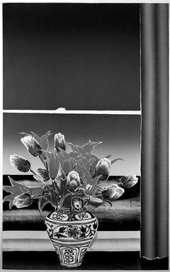 Daniel Joshua Goldstein (American, born 1950). <em>Tulips and Window</em>, 1979. Woodcut Brooklyn Museum, Gift of Stephen Foster, 80.84.1. © artist or artist's estate (Photo: Brooklyn Museum, 80.84.1_bw.jpg)