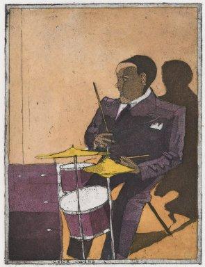 Robert Andrew Parker (American, born 1927). <em>Chick Webb</em>, 1977. Intaglio on paper, sheet: 8 1/2 x 6 1/2 in. (21.6 x 16.5 cm). Brooklyn Museum, Designated Purchase Fund, 80.91.3. © artist or artist's estate (Photo: Brooklyn Museum, 80.91.3_PS4.jpg)