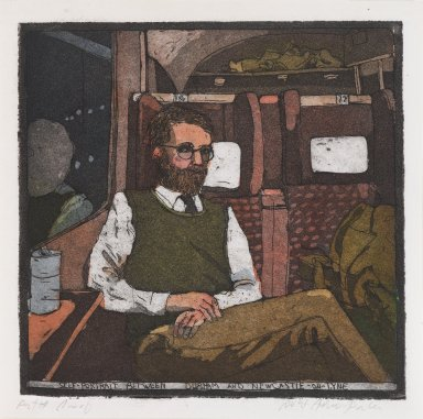 Robert Andrew Parker (American, born 1927). <em>Self Portrait Between Durham and New Castle-on-Tyme</em>, 1979. Intaglio on paper, sheet: 6 1/2 x 6 1/2 in. (16.5 x 16.5 cm). Brooklyn Museum, Designated Purchase Fund, 80.91.5. © artist or artist's estate (Photo: Brooklyn Museum, 80.91.5_PS4.jpg)