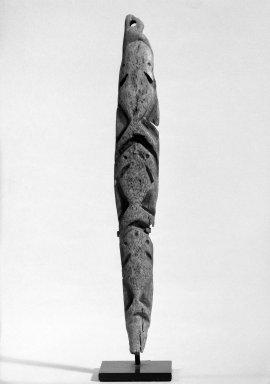 "<em>Miniature Totem Charm</em>, possibly late 20th century. Bone, L 9 1/4 ""  W. 1 3/8"". Brooklyn Museum, Gift of Cynthia Hazen Polsky, 80.98.5. Creative Commons-BY (Photo: Brooklyn Museum, 80.98.5_bw.jpg)"