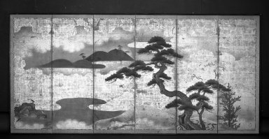 <em>Pine Tree Landscape</em>, 18th century. Six-panel screen, color and gold leaf on paper