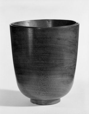 James Prestini (American, 1908-1993). <em>Vase</em>, ca. 1943-1953. Walnut, 5 7/8 x 5 1/8 x 5 1/8 in. (14.9 x 13 x 13 cm). Brooklyn Museum, Gift of Professor James Prestini, 81.113.5. Creative Commons-BY (Photo: Brooklyn Museum, 81.113.5_bw.jpg)