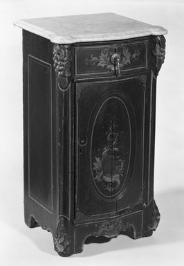 """<em>Nightstand, Part of a """"Cottage"""" Bedroom Suite</em>, ca. 1850. Wood, pigment, marble, metal, 30 3/4 x 17 3/8 x 15 5/8 in. (78.1 x 44.1 x 39.7 cm). Brooklyn Museum, H. Randolph Lever Fund, 81.114.3a-b. Creative Commons-BY (Photo: Brooklyn Museum, 81.114.3_bw.jpg)"""