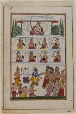 Indian. <em>Krishna and Devotees before a Palace, Page from an Unidentified Hindu Manuscript</em>, 19th century. Opaque watercolor and gold on paper, sheet: 12 7/8 x 8 3/8 in.  (32.7 x 21.3 cm). Brooklyn Museum, Gift of Dr. Andrew Dahl, 81.117.1 (Photo: Brooklyn Museum, 81.117.1_IMLS_PS4.jpg)