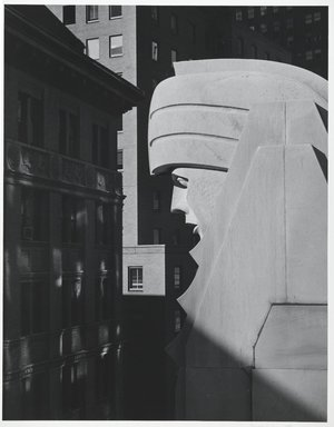 David Anderson (American, born 1943). <em>Head, 20 Exchange Place, New York City</em>, 1981. Photograph, image/sheet: 13 1/4 x 10 3/8 in. (33.7 x 26.4 cm). Brooklyn Museum, Gift of the artist, 81.136. © artist or artist's estate (Photo: Brooklyn Museum, 81.136_PS2.jpg)