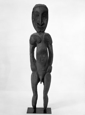 <em>Male Ancestor Figure</em>. Wood, 77 inches (195.6 cm.). Brooklyn Museum, Gift of Mrs. Melville W. Hall, 81.164.5. Creative Commons-BY (Photo: Brooklyn Museum, 81.164.5_front_bw.jpg)