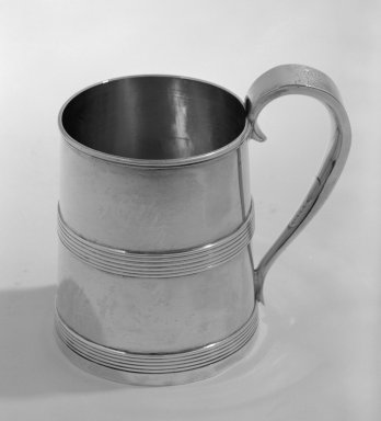 Sauders Pittman. <em>Mug</em>, ca. 1800 dated 1807. Silver, 3 5/8 in. (9.2 cm). Brooklyn Museum, Gift of Wunsch Foundation, Inc., 81.178. Creative Commons-BY (Photo: Brooklyn Museum, 81.178_bw.jpg)
