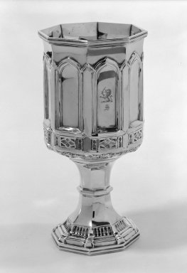Zalmon Bostwick (American, 1846-1852). <em>Goblet</em>, 1845. Silver, 7 7/8 x 3 3/4 x 3 3/4 in. (20 x 9.5 x 9.5 cm). Brooklyn Museum, Gift of the Estate of May S. Kelley, by exchange, 81.179.2. Creative Commons-BY (Photo: Brooklyn Museum, 81.179.2_bw.jpg)
