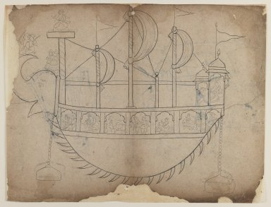 Indian. <em>Line Drawing of a Fanciful Boat</em>, 19th century. Ink and charcoal on paper, sheet: 8 5/8 x 11 5/8 in.  (21.9 x 29.5 cm). Brooklyn Museum, Gift of Bernice and Robert Dickes, 81.188.10 (Photo: Brooklyn Museum, 81.188.10_recto_IMLS_PS3.jpg)