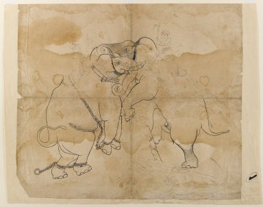 Indian. <em>Elephants Fighting</em>, mid 18th century. Ink on paper, sheet: 21 1/4 x 18 3/8 in.  (54.0 x 46.7 cm). Brooklyn Museum, Gift of Bernice and Robert Dickes, 81.188.3 (Photo: Brooklyn Museum, 81.188.3_IMLS_PS4.jpg)