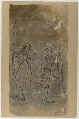 Indian. <em>Lady and Confidante</em>, ca. 1780. Ink on paper, sheet: 21 1/8 x 11 1/8 in.  (53.7 x 28.3 cm). Brooklyn Museum, Gift of Bernice and Robert Dickes, 81.188.4 (Photo: Brooklyn Museum, 81.188.4_IMLS_PS4.jpg)