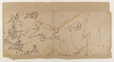 Indian. <em>Preliminary Sketch of an Elephant Hunt</em>, early 19th century. Ink on paper, sheet: 9 x 21 1/2 in.  (22.9 x 54.6 cm). Brooklyn Museum, Gift of Bernice and Robert Dickes, 81.188.6 (Photo: Brooklyn Museum, 81.188.6_IMLS_PS4.jpg)