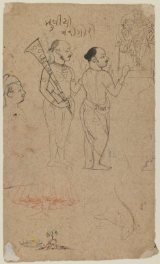 Indian. <em>Two Ascetics Before a Shri Nathaji Shrine</em>, ca. 1820. Ink and color on paper, sheet: 19 1/2 x 6 1/4 in.  (49.5 x 15.9 cm). Brooklyn Museum, Gift of Bernice and Robert Dickes, 81.188.7 (Photo: Brooklyn Museum, 81.188.7_IMLS_PS3.jpg)