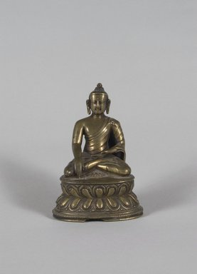 <em>Seated Buddha Shakyamuni</em>, 15th century or earlier. Bronze, H: 4 3/4 x 7 3/16 x 6 5/16 in. (12 x 18.2 x 16 cm). Brooklyn Museum, Gift of Mr. and Mrs. Edward Greenberg, 81.190.2. Creative Commons-BY (Photo: Brooklyn Museum, 81.190.2_PS5.jpg)