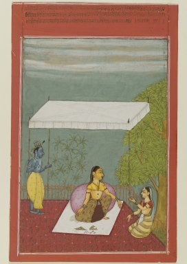 Ibrahim. <em>Nayika Awaits Her Lover, page from a series illustrating the Rasikapriya of Keshavadasa</em>, 1692. Opaque watercolor on paper, sheet: 9 1/2 x 6 1/4 in.  (24.1 x 15.9 cm). Brooklyn Museum, Anonymous gift, 81.192.3 (Photo: Brooklyn Museum, 81.192.3_IMLS_PS4.jpg)