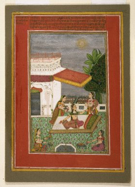 Kasam Ahmad. <em>Radha manifesting the effect of love's separation from Krishna, page from a Rasikapriya series of Keshavadasa</em>, 1749. Opaque watercolor, gold, and silver on paper, sheet: 10 1/4 x 7 5/16 in.  (26.0 x 18.6 cm). Brooklyn Museum, Anonymous gift, 81.192.4 (Photo: Brooklyn Museum, 81.192.4_IMLS_SL2.jpg)