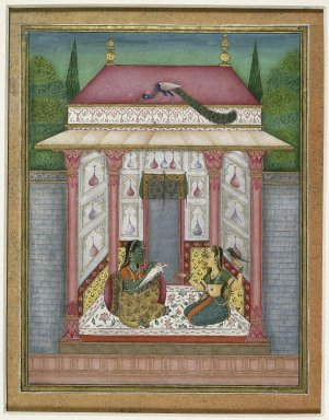 Murad (?). <em>Dhanyashri Ragini, page from a dispersed Ragamala series</em>, ca. 1695. Opaque watercolor, silver, and gold on paper, sheet: 7 5/16 x 6 in.  (18.6 x 15.2 cm). Brooklyn Museum, Anonymous gift, 81.192.5 (Photo: Brooklyn Museum, 81.192.5_IMLS_SL2.jpg)