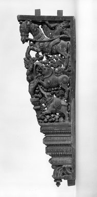 <em>Pair of Decorated Wall Brackets</em>, 17th century. Wood with polychrome, 34 x 12 in. (86.4 x 30.5 cm). Brooklyn Museum, Gift of Dr. Bertram H. Schaffner, 81.200.3. Creative Commons-BY (Photo: Brooklyn Museum, 81.200.3_bw.jpg)
