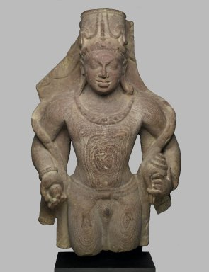 <em>Vishnu</em>, late 4th-5th century. Sandstone, 27 x 16 1/2 in. (68.6 x 41.9 cm). Brooklyn Museum, Gift of Amy and Robert L. Poster and anonymous donors, 81.203. Creative Commons-BY (Photo: Brooklyn Museum, 81.203_PS2.jpg)