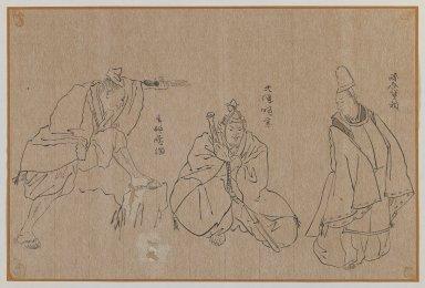 <em>Three Figures</em>, 19th-20th century. Brush sketch, ink on paper, Image: 9 5/8 x 14 1/2 in. (24.4 x 36.8 cm). Brooklyn Museum, Gift of Dr. Jack Hentel, 81.204.10 (Photo: Brooklyn Museum, 81.204.10_IMLS_PS3.jpg)