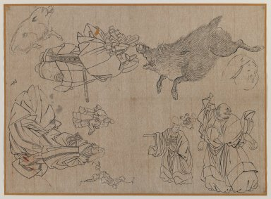 <em>Figures and Animals in the Manner of Hokusai</em>, late 19th century. Brush sketch, ink on paper, Image: 11 x 15 1/4 in. (27.9 x 38.7 cm). Brooklyn Museum, Gift of Dr. Jack Hentel, 81.204.12 (Photo: Brooklyn Museum, 81.204.12_IMLS_PS3.jpg)