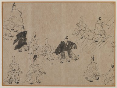 <em>Noblemen and Attendants</em>, 19th-20th century. Brush sketch, ink on paper, Image: 10 3/4 x 14 1/4 in. (27.3 x 36.2 cm). Brooklyn Museum, Gift of Dr. Jack Hentel, 81.204.13 (Photo: Brooklyn Museum, 81.204.13_IMLS_PS3.jpg)