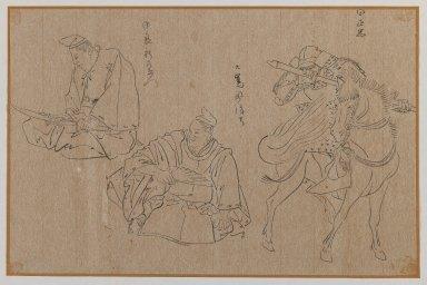 <em>Three Figures</em>, 19th-20th century. Brush sketch, ink on paper, Image: 9 1/2 x 14 1/2 in. (24.1 x 36.8 cm). Brooklyn Museum, Gift of Dr. Jack Hentel, 81.204.14 (Photo: Brooklyn Museum, 81.204.14_IMLS_PS3.jpg)