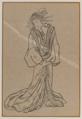 <em>Standing Courtesan</em>, late 19th century. Brush sketch, ink on paper, Image: 14 x 9 3/8 in. (35.6 x 23.8 cm). Brooklyn Museum, Gift of Dr. Jack Hentel, 81.204.15 (Photo: Brooklyn Museum, 81.204.15_IMLS_PS3.jpg)