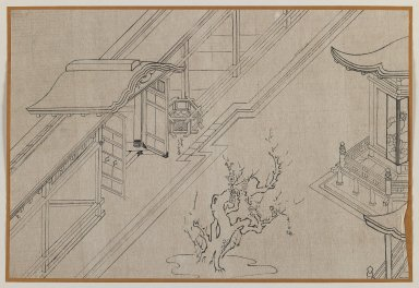 <em>Temple Courtyard with Blossoming Plum Tree</em>, 20th century. Brush sketch, ink on paper, Image: 9 1/2 x 14 in. (24.1 x 35.6 cm). Brooklyn Museum, Gift of Dr. Jack Hentel, 81.204.17 (Photo: Brooklyn Museum, 81.204.17_IMLS_PS3.jpg)