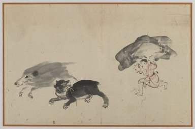 <em>Boar, Bear, and Boy</em>, late 19th century. Brush sketch, ink on paper, Image: 9 3/8 x 14 1/2 in. (23.8 x 36.8 cm). Brooklyn Museum, Gift of Dr. Jack Hentel, 81.204.19 (Photo: Brooklyn Museum, 81.204.19_IMLS_PS3.jpg)